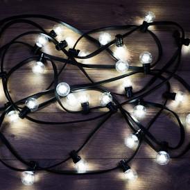 Гирлянда LED Galaxy Bulb String 10м, черный КАУЧУК, 30 ламп*6 LED БЕЛЫЕ, влагостойкая IP65| 331-325| NEON-NIGHT