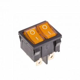 Выключатель клавишный 250V 6А (6с) ON-OFF желтый с подсветкой ДВОЙНОЙ  Mini  REXANT
