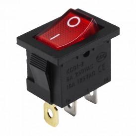 Выключатель клавишный 24V 15А (3с) ON-OFF красный с подсветкой  Mini  REXANT