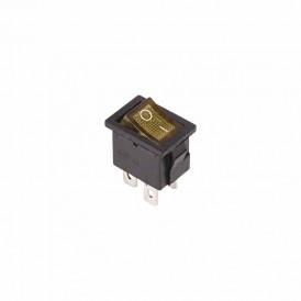 Выключатель клавишный 250V 6А (4с) ON-OFF желтый  с подсветкой  Mini  REXANT