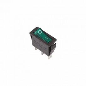 Выключатель клавишный 250V 15А (3с) ON-OFF зеленый  с подсветкой  REXANT