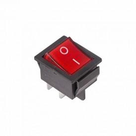 Выключатель клавишный 250V 16А (4с) ON-OFF красный  с подсветкой  REXANT