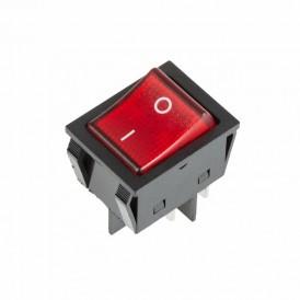 Выключатель клавишный 250V 30А (4с) ON-OFF красный с подсветкой  REXANT