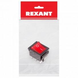 Выключатель клавишный 250V 15А (6с) ON-ON красный  с подсветкой (RWB-506, SC-767)  REXANT Индивидуальная упаковка 1 шт