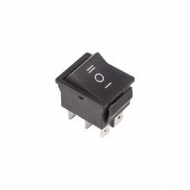 Выключатель клавишный 250V 15А (6с) ON-OFF-ON черный  с нейтралью  REXANT
