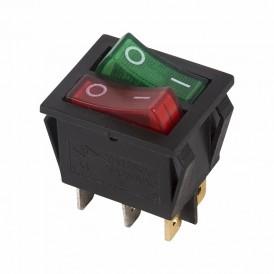 Выключатель клавишный 250V 15А (6с) ON-OFF красный/зеленый  с подсветкой  ДВОЙНОЙ  REXANT