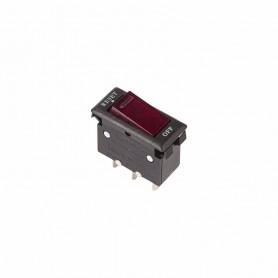 Выключатель - автомат клавишный 250V 15А (3с) RESET-OFF красный  с подсветкой  REXANT