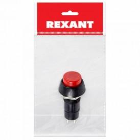 Выключатель-кнопка  250V 1А (2с) (ON)-OFF  Б/Фикс  красная  (PBS-11В)  REXANT Индивидуальная упаковка 1 шт