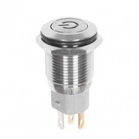Кнопка  антивандальная Ø16 12В Б/Фикс (5с) (ON)-OFF плоская подсв/синяя POWER  REXANT