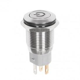 Кнопка  антивандальная Ø16 12В Б/Фикс (5с) ON-OFF плоская подсв/белая POWER  REXANT