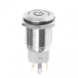 Кнопка  антивандальная Ø16 250В Б/Фикс (5с) (ON)-OFF плоская подсв/красная POWER  REXANT
