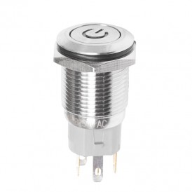 Кнопка  антивандальная Ø16 250В Б/Фикс (5с) (ON)-OFF плоская подсв/синяя POWER  REXANT