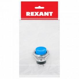 Выключатель-кнопка  металл 220V 2А (2с) (ON)-OFF  Ø16.2  синяя  (RWD-306)  REXANT Индивидуальная упаковка 1 шт