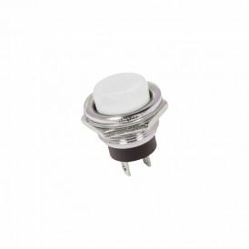 Выключатель-кнопка  металл 250V 2А (2с) (ON)-OFF  Ø16.2  белая  REXANT