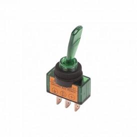 Тумблер 12V 20А (3c) ON-OFF однополюсный  с зеленой подсветкой  REXANT