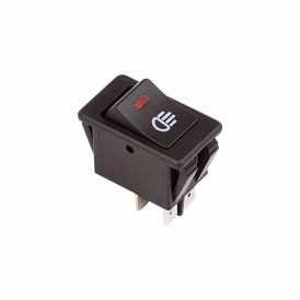 Выключатель клавишный 12V 35А (4с) ON-OFF  с красной LED подсветкой  REXANT
