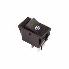 Выключатель клавишный 12V 35А (4с) ON-OFF  с зеленой LED подсветкой  REXANT