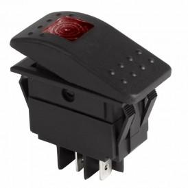 Выключатель клавишный 24V 35А (4с) ON-OFF красный с подсветкой  REXANT