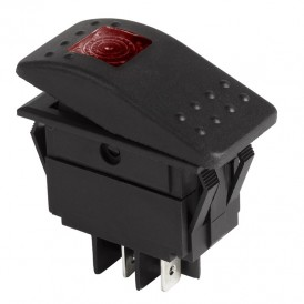 Выключатель клавишный 250 В ON-OFF красный с подсветкой REXANT