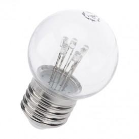 Лампа шар e27 6 LED  Ø45мм - розовая, прозрачная колба, эффект лампы накаливания