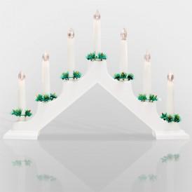 Новогодняя горка 7 свечек, цвет корпуса: Белый, цвет свечения: ТЕПЛЫЙ БЕЛЫЙ