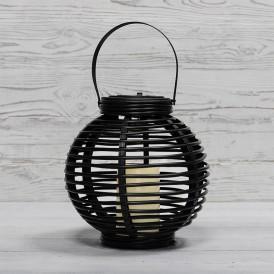 Декоративный фонарь на солнечной батарее 20х20х22 см, черный плетеный корпус, теплый белый цвет свечения NEON-NIGHT