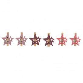 Деревянные прищепки «Звездочки» 16x4.5x1.3 cм, розовые, 6 шт. NEON-NIGHT