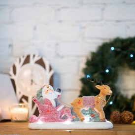 Керамическая фигурка «Дед Мороз в санях» 30.5х12.2х17.2 см