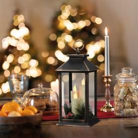 Декоративный фонарь со свечкой и шишкой, бронзовый корпус, размер 14x14x27 см, цвет теплый белый