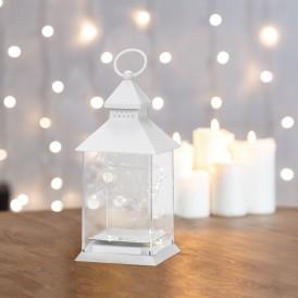 Декоративный фонарь с росой, белый корпус, размер 10,7х10,7х23,5 см, цвет теплый белый