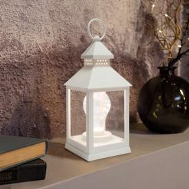 Декоративный фонарь с лампочкой, белый корпус, размер 10.5х10.5х24 см, цвет ТЕПЛЫЙ БЕЛЫЙ