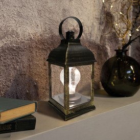 Декоративный фонарь с лампочкой, бронзовый корпус, размер 10.5х10.5х22,5 см, цвет ТЕПЛЫЙ БЕЛЫЙ