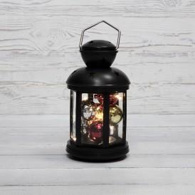 Декоративный фонарь с шариками 12х12х20,6 см, черный корпус, теплый белый цвет свечения NEON-NIGHT