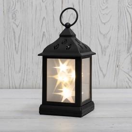 Декоративный фонарь 11х11х22,5 см, черный корпус, теплый белый цвет свечения с эффектом мерцания NEON-NIGHT