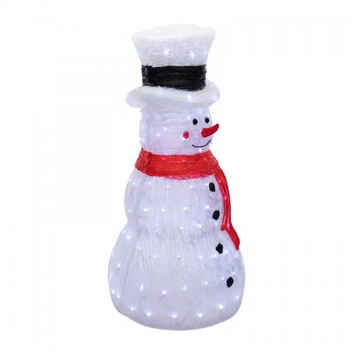 Акриловая светодиодная фигура «Снеговик в шляпе» 38х38х72 см, IP65, понижающий трансформатор в комплекте NEON-NIGHT