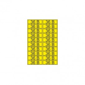 Наклейка знак электробезопасности «36 В» 15х50 мм REXANT (20шт на листе)