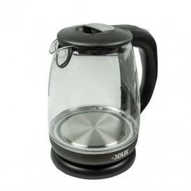 Чайник электрический стекло/пластик 1,7 литра, 2200 Вт/220В  (DX-1258B)  DUX