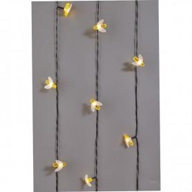 Каскад Lamper Янтарные Пчелы LED 10 м с выносной солнечной панелью 2 м и аккумулятором, IP65, теплое белое свечение