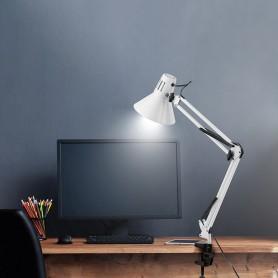 Светильник настольный REXANT Акцент на металлической стойке с винтовым зажимом, с цоколем Е27, 60 Вт, цвет лунный свет