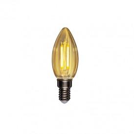 Лампа филаментная REXANT Свеча CN35 9.5 Вт 950 Лм 2400K E14 золотистая колба