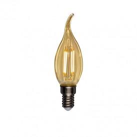Лампа филаментная REXANT Свеча на ветру CN37 9.5 Вт 950 Лм 2400K E14 золотистая колба