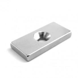 Неодимовый магнитный прямоугольник 20х10х3 мм с зенковкой 6, 5х3 мм (упаковка 2 шт. )