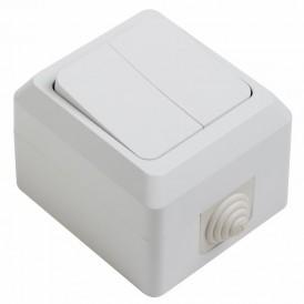Выключатель двухклавишный влагозащищенный открытой установки 10 А IP44 PROCONNECT
