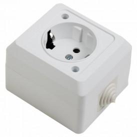 Розетка штепсельная  влагозащищенная открытой установки  c/з 16 А IP44 PROCONNECT