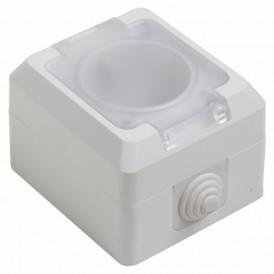 Розетка штепсельная  влагозащищенная открытой установки с крышкой c/з 10 А IP44 PROCONNECT