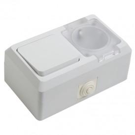 Выключатель одноклавишный + розетка  влагозащищенная для открытой установки с\з с крышкой 10 А IP44 PROCONNECT
