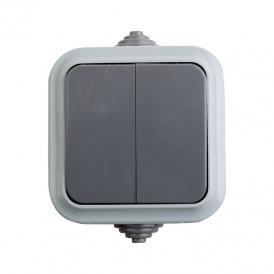Выключатель двухклавишный  влагозащищенный открытой установки IP54 10 А REXANT