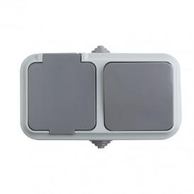 Выключатель одноклавишный + розетка  влагозащищенная для открытой установки IP54 выключатель 10 А розетка б/з 16 А REXANT