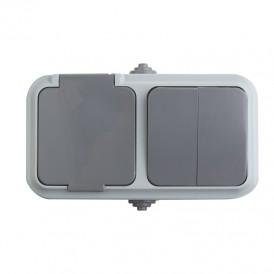 Выключатель двухклавишный + розетка  влагозащищенная для открытой установки IP54 выключатель 10 А розетка б/з 16 А REXANT