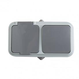 Выключатель одноклавишный + розетка  влагозащищенная для открытой установки IP54 выключатель 10 А розетка с/з 16 А REXANT